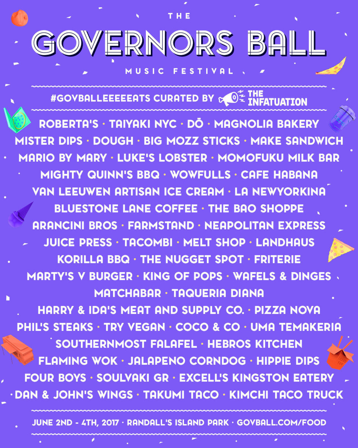 The Governors Ball Announces 2017 Food Beverage Lineup Sidewalk Hustle